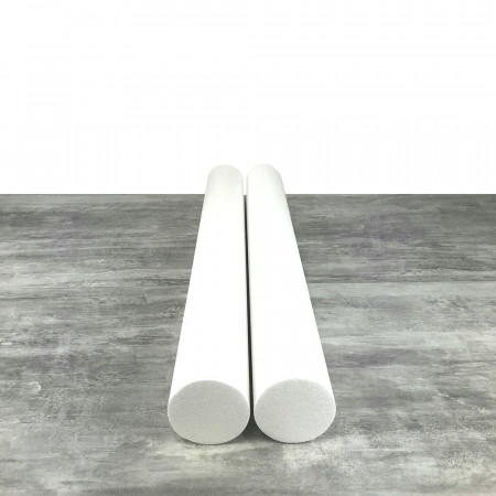 Lot of 2 cylinders diam. 9 cm x height. 80 cm, in polystyrene, Columns in white Styropor for display