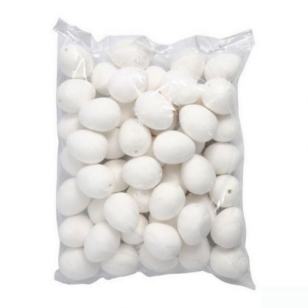 Lot of 50 Eggs, 5,5 cm, Cellulose wadding with hanging hole, in compressed cotton