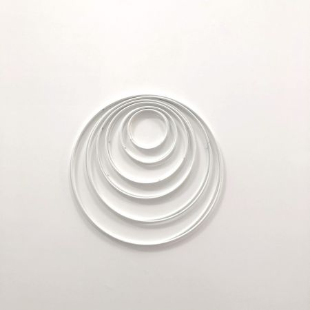 Set of 12 white metal circles Diameter 5 cm to 18 cm for lampshade, epoxy rings for Dreamcatcher