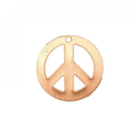 Set of 10 Pendants, copper, peace and love, 1 hole, ⌀ 26 mm, blank for enameling