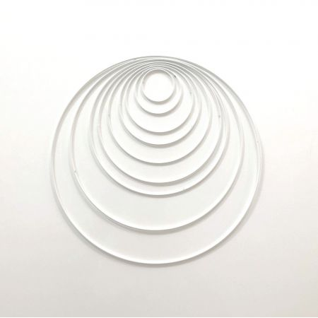Set of 9 white metal circles Diameter 5 cm to 30 cm for lampshade, epoxy rings for Dreamcatcher
