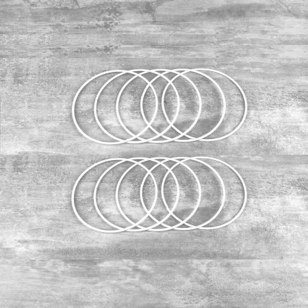 Set of 10 white metal circles Diameter 10 cm for lampshade, epoxy wire ring for Dreamcatcher