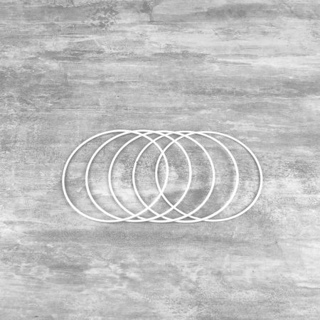Set of 5 white metal circles Diameter 12 cm for lampshade, epoxy wire ring for Dreamcatcher