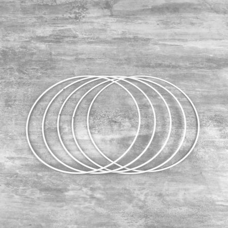 Set of 5 white metal circles Diameter 18 cm for lampshade, epoxy wire ring for Dreamcatcher