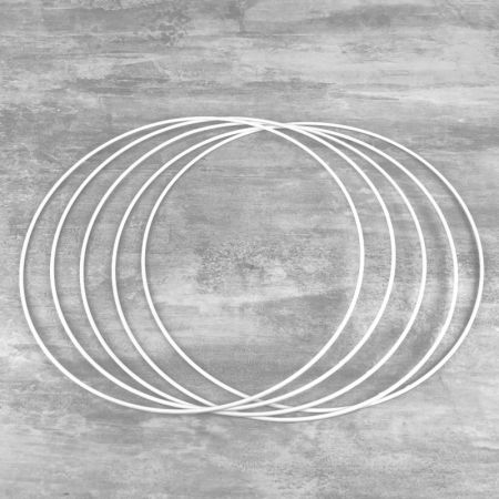 Set of 5 white metal circles Diameter 25 cm for lampshade, epoxy wire ring for Dreamcatcher