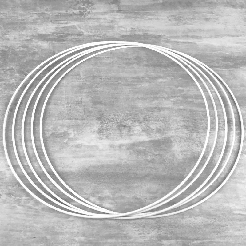 Set of 5 white metal circles Diameter 40 cm for lampshade, epoxy wire ring for Dreamcatcher