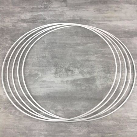 Set of 5 white metal circles Diameter 45 cm for lampshade, epoxy wire ring for Dreamcatcher