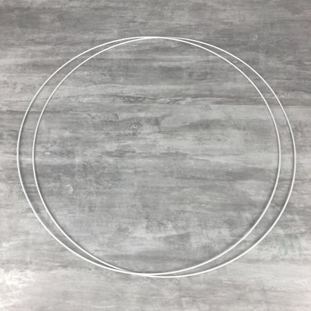 Set of 2 large white metal circles Diameter 80 cm for lampshade, epoxy rings for Dreamcatcher