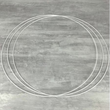 Big Set of 3 large white metal circles Diameter 90 cm for lampshade, epoxy rings for Dreamcatcher