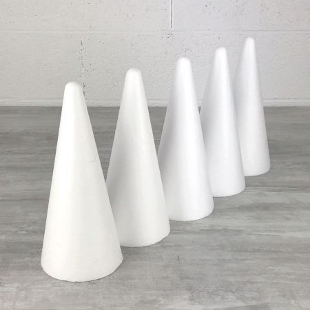 Set of 5 polystyrene cones 28cm high, Base diameter 12cm, high density