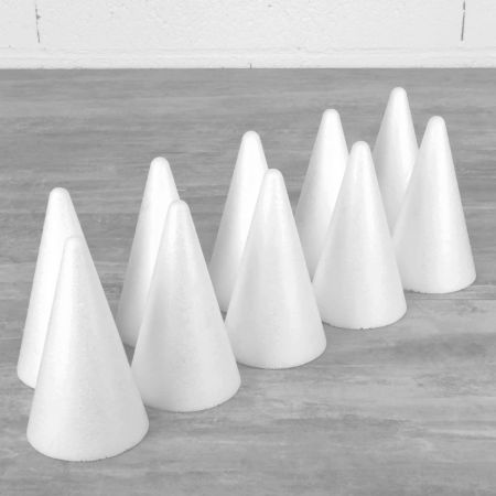 Set of 10 polystyrene cones 12cm high, Base diameter 7cm, hihg density