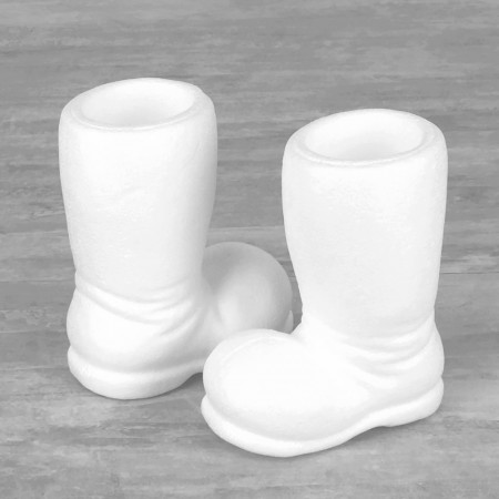 2 Styrofoam Santa's Boots, Height 14 cm, width 11.5 cm, Hollow interior, to customise