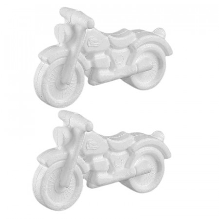 2x Polystyrene form motorbike, height 11 cm x length 17 cm, high density