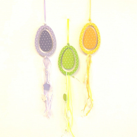Lot of 3 Eggs decorated in wood with ribbons and beads, to hang up, Total length 40 cm, for Easter