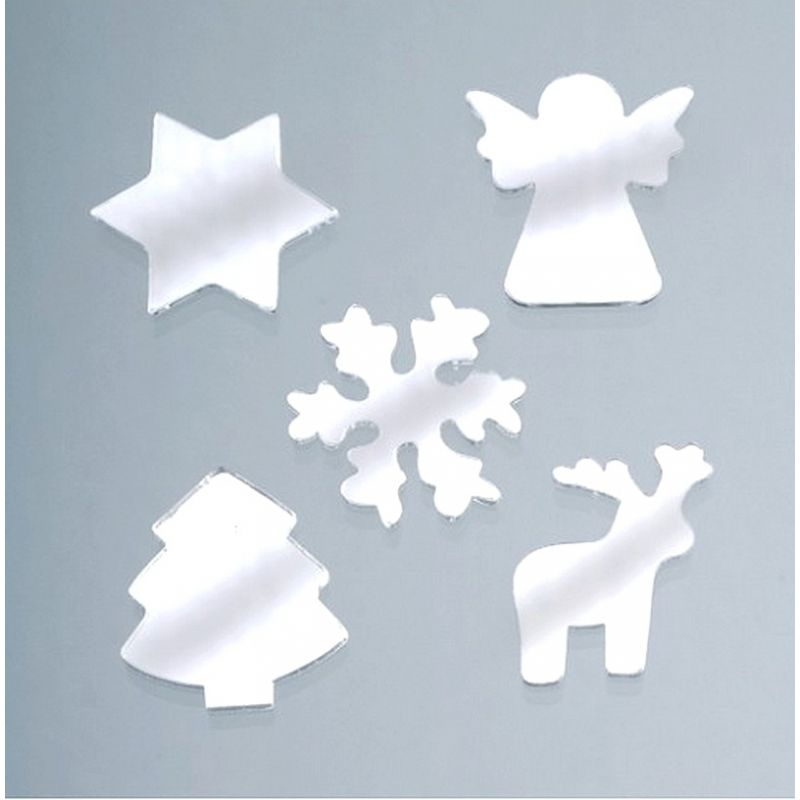 Set of 10 Christmas and winter motifs, mirrors, 25 mm