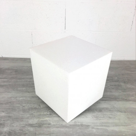 Polystyrene cube, 21x21x 22 cm height, high density 28 kg/m3