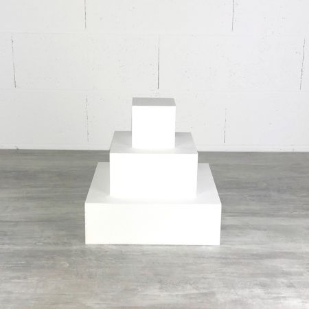 Small square mounted piece, polystyrene, Height 30 cm, Base Side 30cm to 10cm, 3 bases of 10cm high