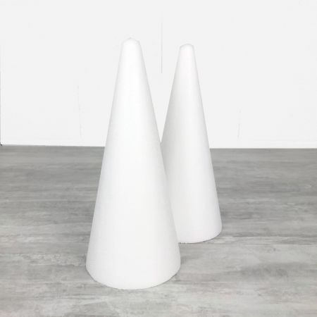 Set of 2 polystyrene cones 28cm high, Base diameter 12cm, high density