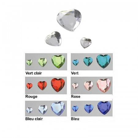 Set of 50 faceted heart cabochons, 3 sizes, in acrylic, to stick