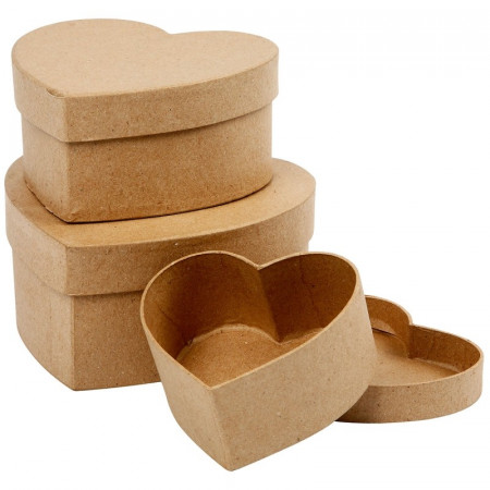 Set of 3 Nesting Heart boxes, papier mache, with lid, 10.5 cm to 16.5 cm