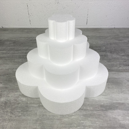 Flower wedding cake, in solid polystyrene, Height 28 cm, Support 4 levels of 7 cm, Base of the plinth 40 cm