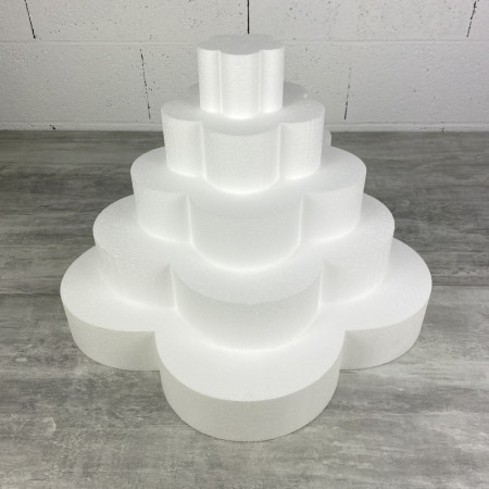 Flower wedding cake, in solid polystyrene, Height 35 cm, Support 5 levels of 7 cm, Base of the plinth 50 cm