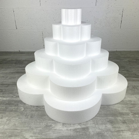 Flower wedding cake, in solid polystyrene, Height 42 cm, Support 6 levels of 7 cm, Base of the plinth 60 cm