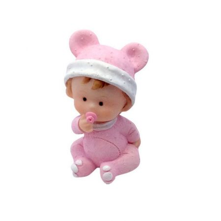 Baby girl in pajamas with pink teat, 7.4 x 4 cm, small resin figurine baptism or babyshower