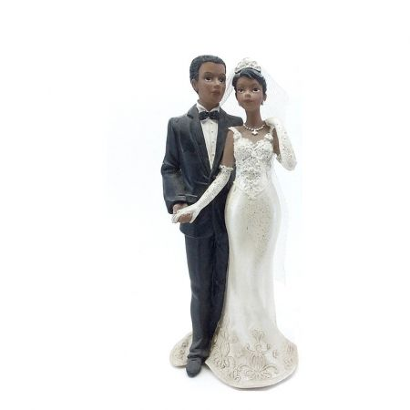 Large Black Resident Married Couple Holding Hands, 20 x 8.5 cm, Figurines and Wedding