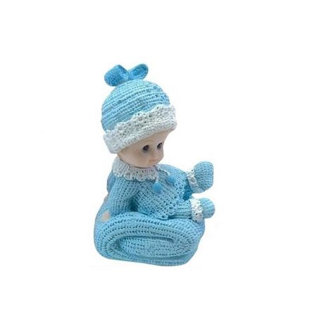Baby Boy sitting on a big Blue Cushion, size 10 x 7 cm, resin figurine for Babyshower