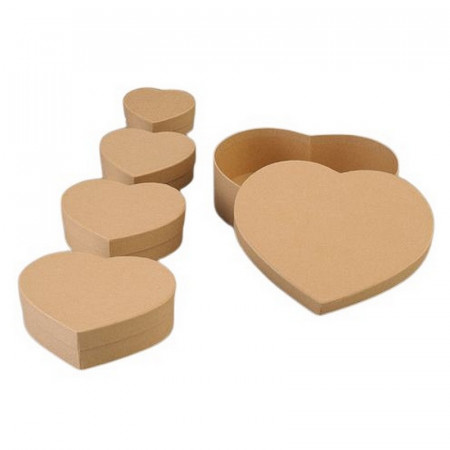 Set of 5 Heart nesting boxes, cardboard, 6.5 cm, 8.5cm, 10.5cm, 12.5cm and 16.5cm