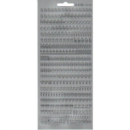 Bonne Fête Outline Sticker in French Silver, Plate 10 x 23 cm, peel off stickers for scrapbooking
