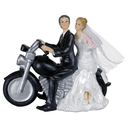 Grand Couple of brides and grooms in resin for wedding decoration, motorcycle rider figure13 x 7 x 16 cm
