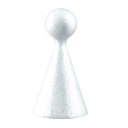 Lot of 5 Styrofoam cones, height 15 cm, 7.5cm, with a ball at the top, for doll