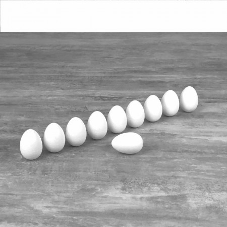 Little Set of 10 polystyrene eggs, 6 cm, high density