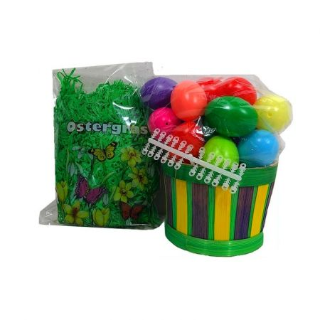 Round Basket Filled in Green Bamboo Braided Yellow and Purple, with Grass, 25 Fake Eggs, Easter Hooks Easter, Sun 11 x 13cm,