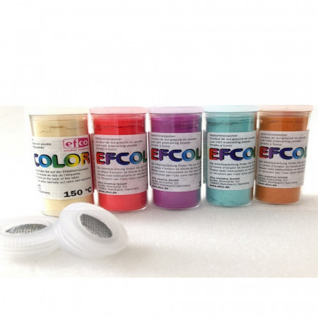 Set 5 colors, Efcolor Enamel powder, 25 ml, Soft color, total 125 ml, 2 sieves tops, for enameling, baking at 150 ° C