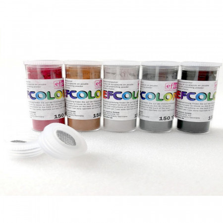Set 5 colors, Efcolor Enamel powder, 25 ml, Dark color, total 125 ml, 2 sieves tops, for enameling, baking at 150 ° C