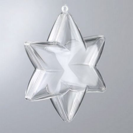 Lot of 5 3D stars of 10 cm, 6 branches, transparent food-grade crystal plastic, separable, container to garnish
