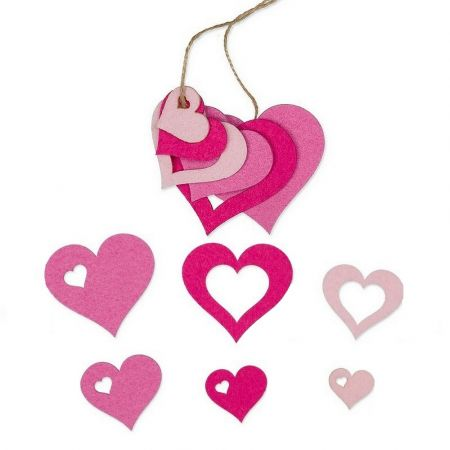 Set of 6 Hearts in Rose Gradient Felt, 6.5 x 5 x 3.5 x 2.5, for scrapbooking or hanging