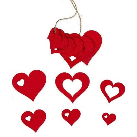 Set of 6 Assorted Felt Hearts Red, 6.5 x 5 x 3.5 x 2.5, for scrapbooking or hanging