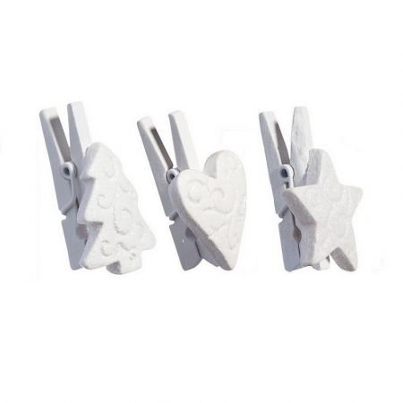 Set of 9 wooden mini clothespins, white with glitter, Christmas tree, heart, star, 3,5cm