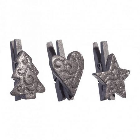 Set of 9 wooden mini clothespins, silver with glitter, Christmas tree, heart, star, 3,5cm
