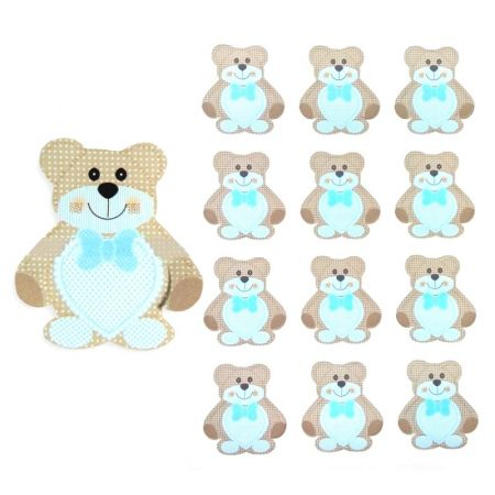 Leaf of 12 brands card stock Teddy the Pooh, Blue Heart