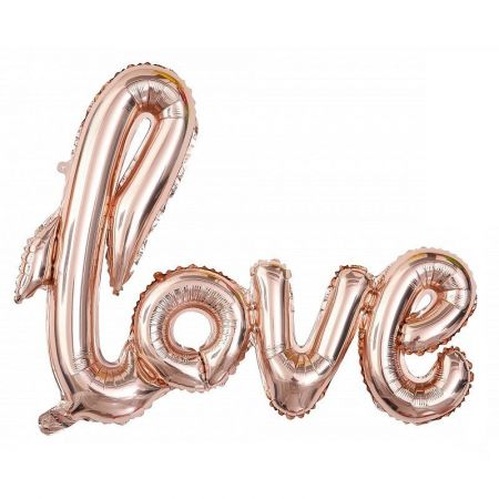 Love Mylar Aluminum Ball Rose Gold color, size 91 x 71 cm, inflatable golden balloon for wedding