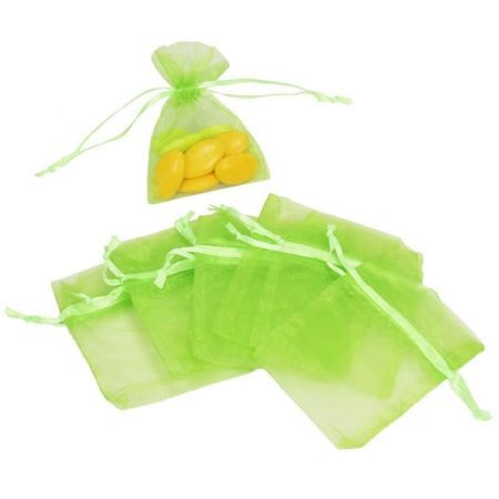 Set of 12 bags in light green Organdi, Organza bags for sugared almonds, 7.5 cm x 10 cm