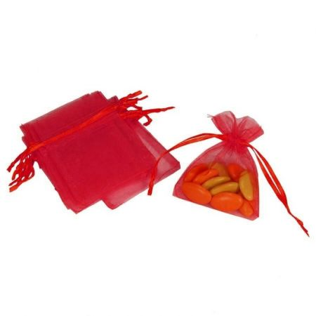 Set of 12 bags in red Organdi, Organza bags for sugared almonds, 7.5 cm x 10 cm