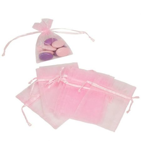 Set of 12 bags in light pink Organdi, Organza bags for sugared almonds, 7.5 cm x 10 cm