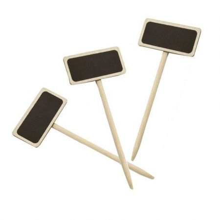 Lot of 12 mini slates, on natural wood pick, height 14 cm, place-mark