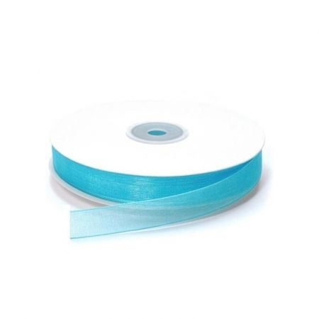 Turquoise Organza Ribbon, woven border, width 15 mm, length 33 m, decorative roll